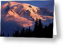 Mt. Rainier Dawn And Clouds Greeting Card