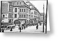 Munich, Germany, Street Scene, 1903, Vintage Photograph Greeting Card