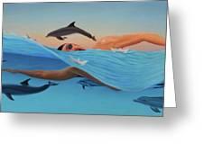Nadando Contra Corriente Greeting Card