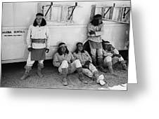 Native American Extras Dressed As Apache Warriors The High Chaparral Set Old Tucson Arizona 1969 Greeting Card