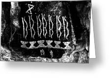Native American Petroglyph On Sandstone Black And White Greeting Card