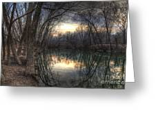 Neath The Willows By The Stream Greeting Card