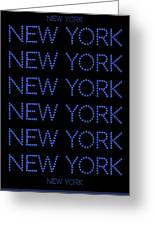 New York - Blue On Black Background Greeting Card