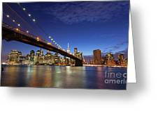 New York City Skyline By Night Greeting Card