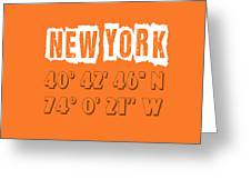 New York Coordinates Greeting Card