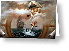 News Map Captain 2 Or Sea Captain Greeting Card
