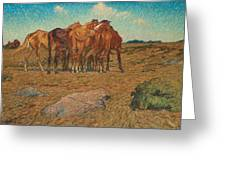 Nils Kreuger,  A Drove Of Horses Greeting Card