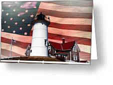 Nobska Lighthouse On American Flag Greeting Card