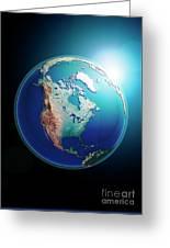North America 3d Render Planet Earth Dark Space Greeting Card