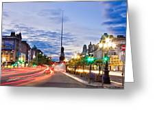 O' Connell Bridge At Night - Dublin Greeting Card