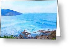 Ocean Coastline Watercolor Greeting Card