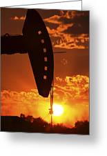 Oil Rig Pump Jack Silhouetted By Setting Sun Greeting Card