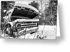 Old Abandoned Pickup Truck In The Snow Greeting Card