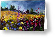 Old Chapel And Flowers Greeting Card