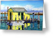 Old Crab Yellow Shacks Of Tangier Island Greeting Card