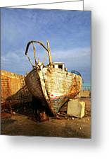 Old Dilapidated Wooden Boat  Greeting Card