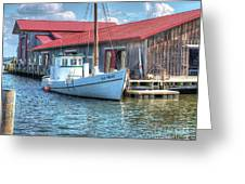 Old Point Crabbing Boat Greeting Card