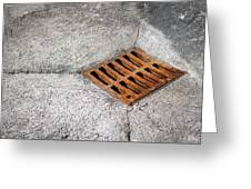 Old Rusty Street Grate Near The Sea In Cres Greeting Card