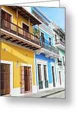Old San Juan Houses In Historic Street In Puerto Rico Greeting Card