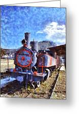 Old Steam Train In Nafplio Town Greeting Card