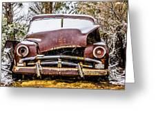 Old Vintage Plymouth Automobile In The Woods Covered In Snow Greeting Card