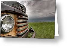 Old Vintage Truck On The Prairie Greeting Card