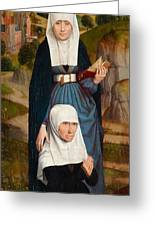 Old Woman At Prayer With St. Anne Greeting Card