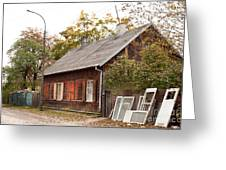 Old Wooden House With Tar Greeting Card