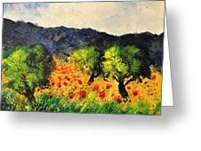 Olive Trees And Poppies  Greeting Card