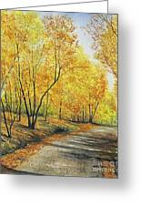 On Golden Road Greeting Card