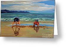 On The Seashore Of Endless Worlds Children Meet  Greeting Card