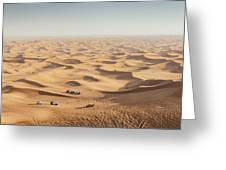 One 4x4 Vehicle Off-roading In The Red Sand Dunes Of Dubai Emirates, United Arab Emirates Greeting Card