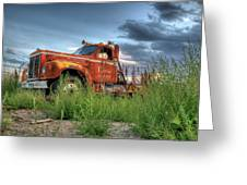 Orange Truck Greeting Card