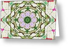 Orchids And Stone Wall Kaleidoscope 1764 Greeting Card