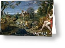 Orpheus And Animals Greeting Card