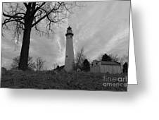 Overcast Lighthouse Greeting Card