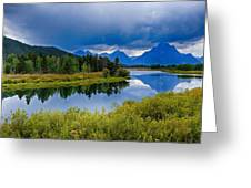 Oxbow Bend Storm Clouds Greeting Card
