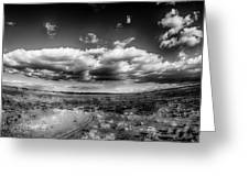 Panorama Of A Valley In Utah Desert With Blue Sky Greeting Card
