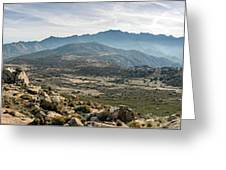 Panoramic View Of Monte Grosso And The Mountains Of Corsica Greeting Card