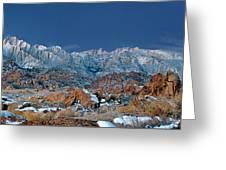 Panoramic Winter Morning Alabama Hills Eastern Sierras California Greeting Card