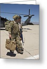 Pararescuemen Walks Away From A Hh-60g Greeting Card