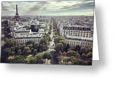Paris Cityscape From Above, France Greeting Card