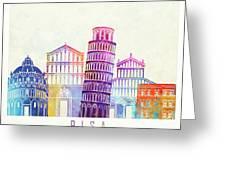 Barcelona Landmarks Watercolor Poster Greeting Card