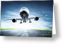 Passenger Airplane Taking Off On Runway Greeting Card