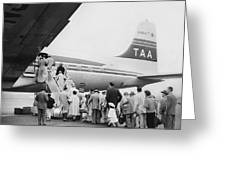 Passengers Boarding Airplane Greeting Card