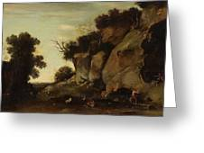 Pastoral Scene At The Cave Greeting Card