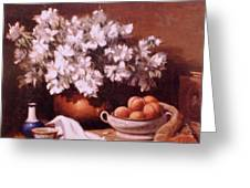 Peaches And Flowers Greeting Card
