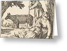 Peasant Couple With Cow Greeting Card