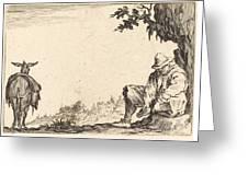 Peasant Removing His Shoe Greeting Card