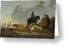Peasants And Cattle By The River Merwede Greeting Card